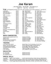 Joe Karam Actor Composer Resume