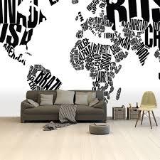 Bolcom Wereldkaart Zwart Wit Tekst Op Behang Voor Aan De Muur