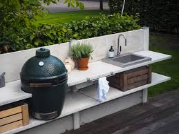 WWOO outdoor kitchen light grey with the Big Green Egg large