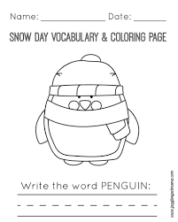 Snow Day Vocabulary And Coloring Page