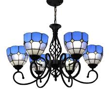 blue tiffany style 5 light chandelier with handmade stainde glass shade