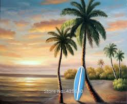 tall palm oil painting hawaii seascape oil painting seaside on canvas hight quality hand painted painting in painting calligraphy from home garden on