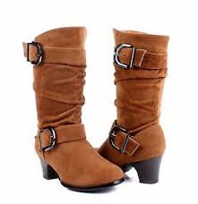 Details About Tan Color Faux Suede Buckles Side Zippergirls Heels Boots Kids Youth Size 11