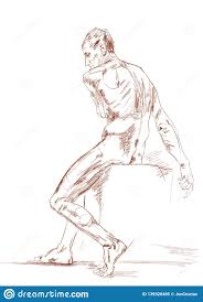 Nude Male Model Sitting On Cube Academic Drawing Stock
