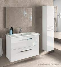 China Suspended 2 Drawers White Lacquered Bathroom Cabinet With Mirror China Bathroom Vanity Unit Bathroom Furniture