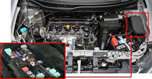 honda civic 2012 2015 < fuse box diagram located near the brake fluid reservoir the location of the fuses in the engine compartment honda civic 2012 2015