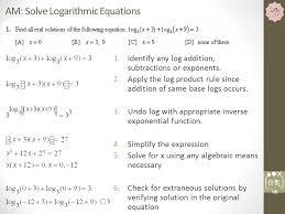 algebra problem on logarithmic functions solving equations