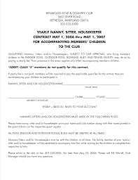 Nanny Housekeeper Contract Sample Templates At
