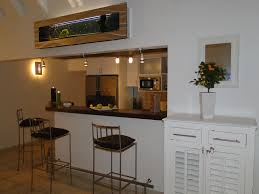 Kitchen:Dazzling Small Kitchen Dining Room Design Using Long Wooden Bar  Table Plus Blue Wire