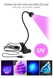 Black Light Commercial Us 4 42 38 Off Led Clip Desk Lamp Rechargeable Usb Led Flexible Table Lamps Cash Medical Product Detector Uv Gel Curing Light For Diy Nail Art In