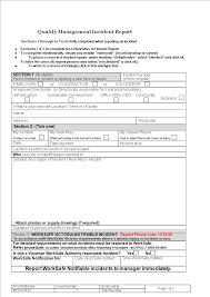 Quality Management Incident Report Templates At