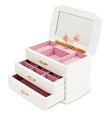 jewelkeeper girls wooden al jewelry box with pullout drawers classic design with ballerina and mirror swan lake tune white wantitall