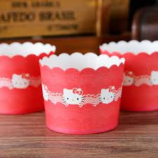 Red Hello Kitty Cupcake Case Muffin Paper Cups Tin Liners Cheap