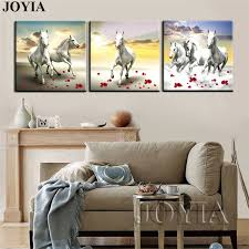 running horse paintings white gallant horses canvas prints large scape wall art picture for home office