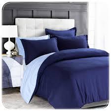 navy l blue plain reversible duvet cover set