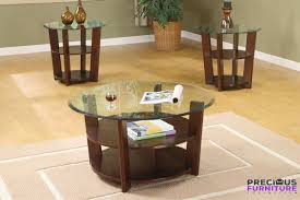 poundex f3108 round glass coffee table set with 2 shelves pertaining to glass coffee table set
