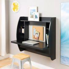 Wall mounted office desk Home Office Black Wall Mounted Desk Wood Removable Shelves Side Compartments Wire Management Ebay Floating Wall Mount Office Desk Storage Computer Keyboard Shelf