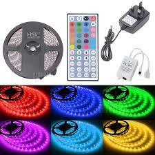 Radio Controlled Led Lights Hml Ip65 5050x300 Rgb Led Lights Kit With 44key Ir Remote Controller And Uk Plug