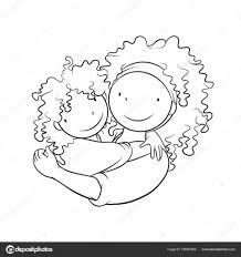Moeder Haar Kind Omarmen Kleurplaat Pagina Stockvector Bdnz