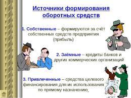 Презентация на тему Оборотные средства предприятия  Источники формирования оборотных средств 1 Собственные формируются за счёт