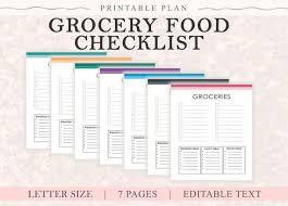 Grocery Checklist Grocery List Printable Printable Grocery List Shopping List Meal Planning Grocery Checklist Modern Checklist Food Shopping Editable