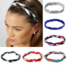 Softball Running Sports Braided Headbands Sweat <b>Silicone Non</b> ...