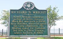 richard wright author a historic marker in natchez mississippi commemorating richard wright who was born near the city