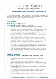 Sample Management Specialist Resume Cash Management Specialist Resume Samples Qwikresume