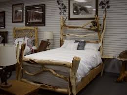 Pine Log Bedroom Furniture Splendid Rustic Bed With Log Wood Materials Added White Cover