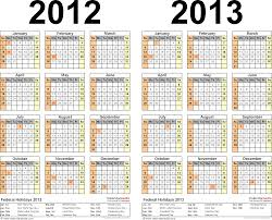 2012-2013 Calendar - free printable two-year Excel calendars