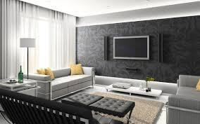 home appealing living room interior with black fabric sofa with rectangular white coffee table and cream furry rug also brown leather armchair with appealing home interiro modern living room
