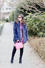 my funny valentine navy faux fur coat ombre pink sequin dress