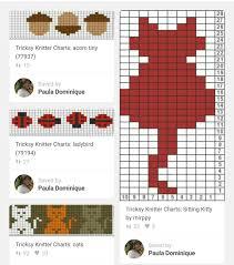 Cat Knitting Chart Cat Ladybug Acorn Fair Isle Pattern Fair Isle Knitting