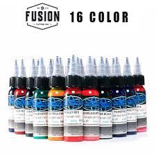 High quality <b>16Pcs</b> Fusion Tattoo Ink <b>16 Colors</b> Set 1 oz <b>30ml</b>/Bottle ...
