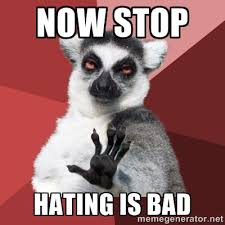 Now STop Hating is bad - Chill Out Lemur | Meme Generator via Relatably.com