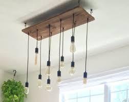 edison bulb pendant lighting. Rustic Dining Chandelier Wood Lighting 10 Edison LED Vintage Bulbs Pendant Lights Reclaimed Bulb H