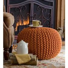 Hand-Knitted Pouf Ottoman