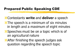 public speaking objective describe the major types of speeches  6 prepared public speaking cde zcontestants