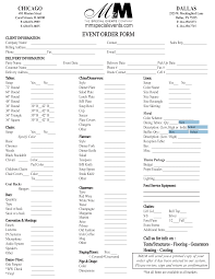 Printable Event Order Form Templates At