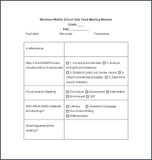 A Blank Meeting Minutes Template Or Format Word Business Sample