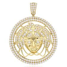 6ct created diamond 10k yellow gold medusa head pendant 2 wjd exclusives
