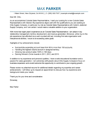 Best Outside Sales Representative Cover Letter Examples Livecareer