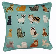 Small Picture Royal Cats Unique Design Cushion Cover Cat Breeds Sea Green