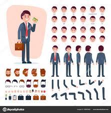 イラスト セットの頭と顔の感情男まさりの髪型で男性キャラクターの