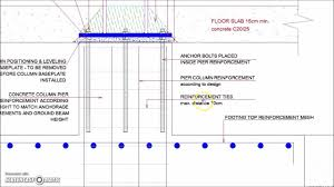 Through Bolt Design In Concrete Steel Column Footing Foundation Detail Steel Columns