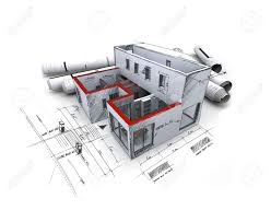 architecture blueprints 3d. Architecture Blueprints 3d Rendering Of An Model, With Rolled Up A