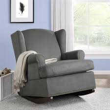 baby relax harlow wingback rocker with nailheads charcoal