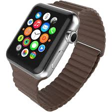 leather loop band magnetic clasp strap apple watch 42 44mm brown