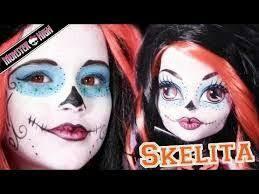emma shows you how to do your el dia de los muertos costume cosplay makeup like monster high s skelita calaveras sugar skull mask makeup
