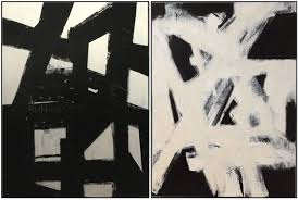 left large black and white abstract painting by cindy robinson 412 78 right large white on black abstract painting by cindy robinson 412 78